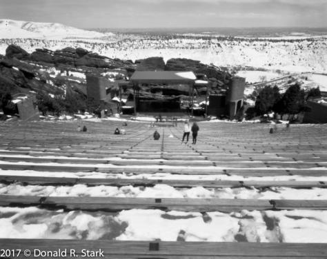 pinhole of bleachers red rocks amphitheater