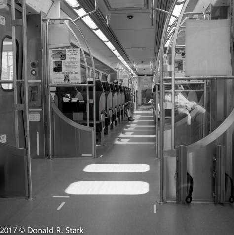 DIA train interior with reflections